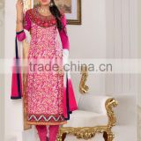 Cotton Jacquard ReadyMade Suits With Designer Pink Top Plain Bottom+Pink&White Dupatta/tuxedo suits/indian ladies suits fancy sa