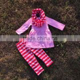 2016 new Valentine's day design girls Fashion clothes kids suit red stripes pant scarf set pink top baby kids wear set