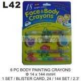 L42 6 PC BODY PAINTING CRAYONS