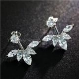 Gold Plated Brass Front Back 2 In 1 Fashion Lady Zircon Leaf Ear Jacket Earrings Back Ear Cuffs Stud Earring