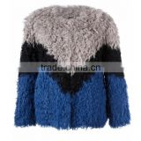YR1030 New Style Ladies' Real Curly kalgan Lamb Fur Jacket Patchwork Contrast Color Fur Coat