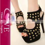 Punk Fashion Wind Fish Mouth Studded Suede Girl High Heel Sandals