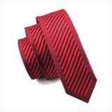 Brown Classic Strips Mens Jacquard Neckties Knit Satin
