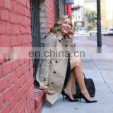 Notched collar double-breasted horn button front back vent Mid-length windbreak women trench coat