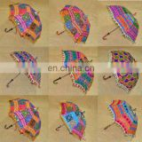 Handmade Women's Cotton Embroidered Umbrellas Ethnic Sun Protector Parasol Indian Sun Parasol Vintage Decor Umbrella