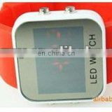 2013 Square Fashion LED Silicone Digital Watch With Alloy Shell