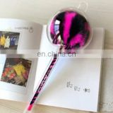 leopard pom pom pen fur gel ink pen