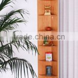 6 Tiers Bamboo Corner Display Shelf, Bamboo Book Organizer