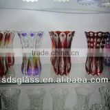 Tall colored glass vase for wedding
