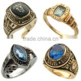 Graduation school rings with birthstone and in gold color