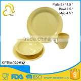 most popular yellow round bamboo melamine western dinnerware sets