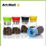 New Products Glass Spice Bottle With Flap Style Black Shaker Lids