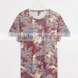 birds printed cotton men t-shirt short sleeves O-collar men casual t-shirt OEM service