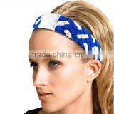 Customized Women's Nylon elastic 5rope Braided Sports Headband