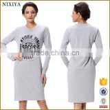 Grey Crew Neck Long Sleeve Rough Blank T-Shirt Dress Made In China
