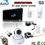 DIY wireless ios/android quad band gsm water leakage panic alarm system with wifi camera