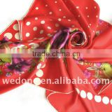 Red Tulip Floral Silk Twill Foulard Scarf Bright Red