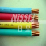 single core hard drawn copper cable, 6mm square with a fire retardant PVC coating or smokestop jacket or similar.