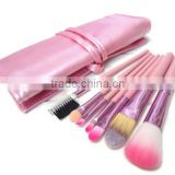 7pcs pink cosmetic travel tool kit/private label makeup brush set/china manufacturer/make up tool bag products china