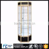 Excellent material free standing round glass toy display cabinet for products display