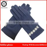 New Hot Selling Warm Ladies Navy Color Woolen Gloves Women Lace winter Woolen GLoves