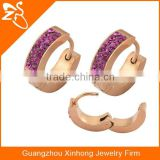 Ladies earrings designs pictures rose gold plated stainless steel with CZ crystal earring