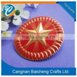 nice round red star metal badge maker with top quality and eco-friendly material for sale supplies custom design for national