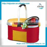 Basket Type ,Foldable Insulated Polyester Material Picnic Cooler Hamper Basket with Aluminum Frame Handle