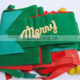 Outdoor Green Red Gold Colorful Velvet Merry Christmas Decorative Wired Edge Ceiling Ribbon/Flag Patterned