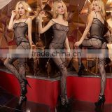 880-11 Sexy Fishnet Bodystocking Sling Open Crotch Floral Bodysuit Lingerie Black
