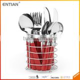 Stainless steel plastic handle restaurant cutlery with holder