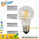 led filament bulb, 8w high brightness led transparent pc bulb, E27 base led bulb