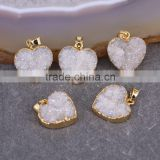Charm Quartz Druzy Pendant, Heart Pendant, Gold Plated White AB Crystal Drusy Quartz Gemstone Pendant, For Jewelry Making