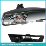 4.3inch digital car rear view mirror monitor temperature compass with wide angle night vision rearview camera display