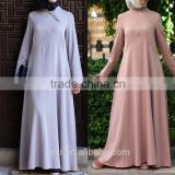 Oem service long sleeve maxi dress simple plain pattern casual wear beautiful muslim abaya