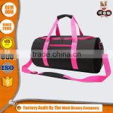 fashion unique pink barrel-shape gym sports shoulder cylindric duffle travel bag
