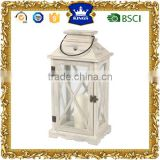 Hanging white LED candle wooden lantern for garden decoration
