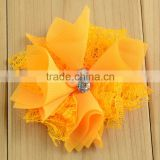 Yellow lace burlap giant artificial flower bride hair accessories