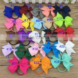3.5inch Cheer Leading Boutique Ribbon Bows with Elastic Hairband for Baby Accessories 23Colors in Stock