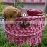 2014 wholesale wicker pet bike willow basket pet bike basket