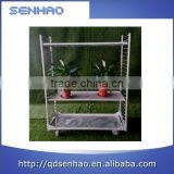 Metal sheet rolling display cart with side frames