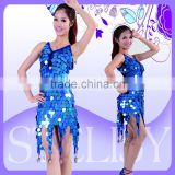 2015 ladies sexy latin dance dress sequined latin ballroom dance costumes for competition