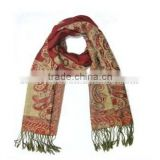 Breathable Styliest Ladies Polyester&Wool Jacquard Woven Scarf