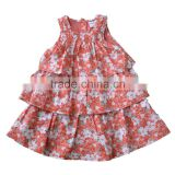 baby toddler ruffle sleeveless cotton flower frocks design girl dress