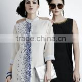 White and Black color with silver blue beads work tip to bottom and zari design neck Vogue Designer Kurtis