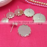 10-16mm Silver Plated Ear Studs Blank Base Cabochon Bezels Setting Lace Edge Round Earring Tray