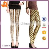 2017 golden fish and snake skin print fitness leggings for evening club sexy fashion women