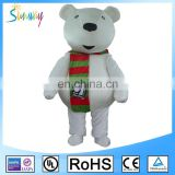 Custom Lovely Adult Fur White Teddy Bear Animal Mascot Costumes For Holiday or Party Advertising