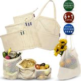 Reusable Produce Bags | Organic Cotton Mesh Produce Bags | Double-Stitched Seam Eco Bags + Zero Waste Grocery Bag | Washable & Eco-Friendly Shopping & Storage Solution