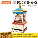 DIY Wooden Puzzles Wind Up Carousel Music Box Kids Toys
